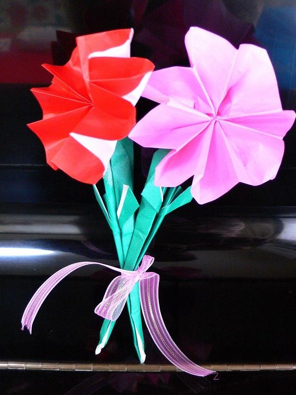すべての折り紙 折り紙 バラの花束 : 折り紙でカーネーション花束 ...
